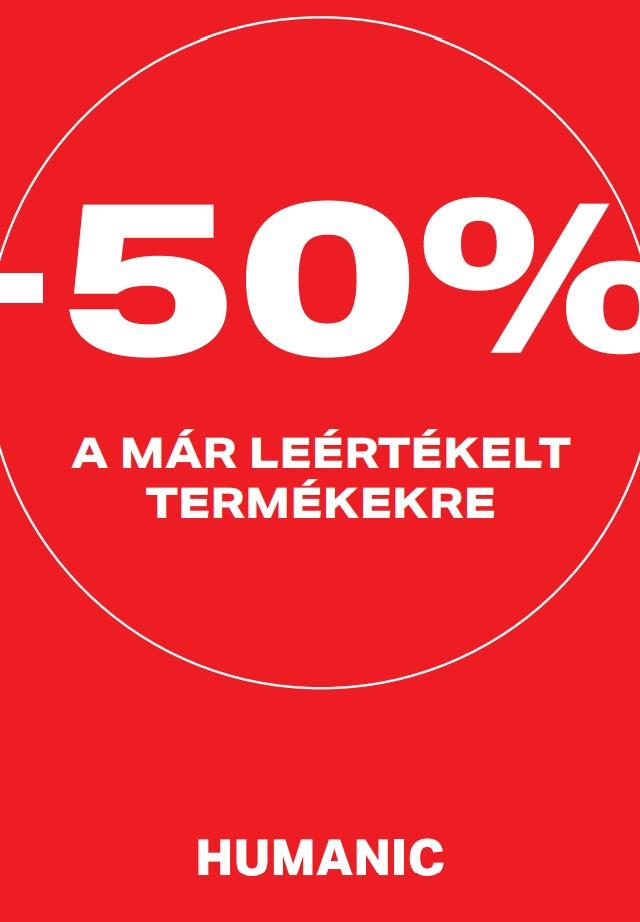 50% kedvezmény a leértékelt termékekre
