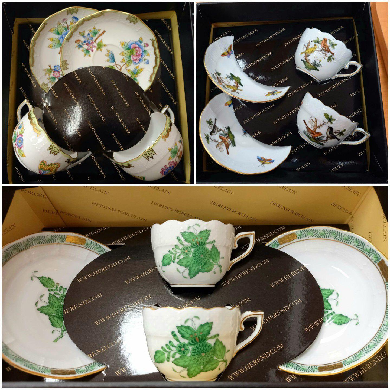Páros teás-és kávés csészék aljjal díszdobozban.