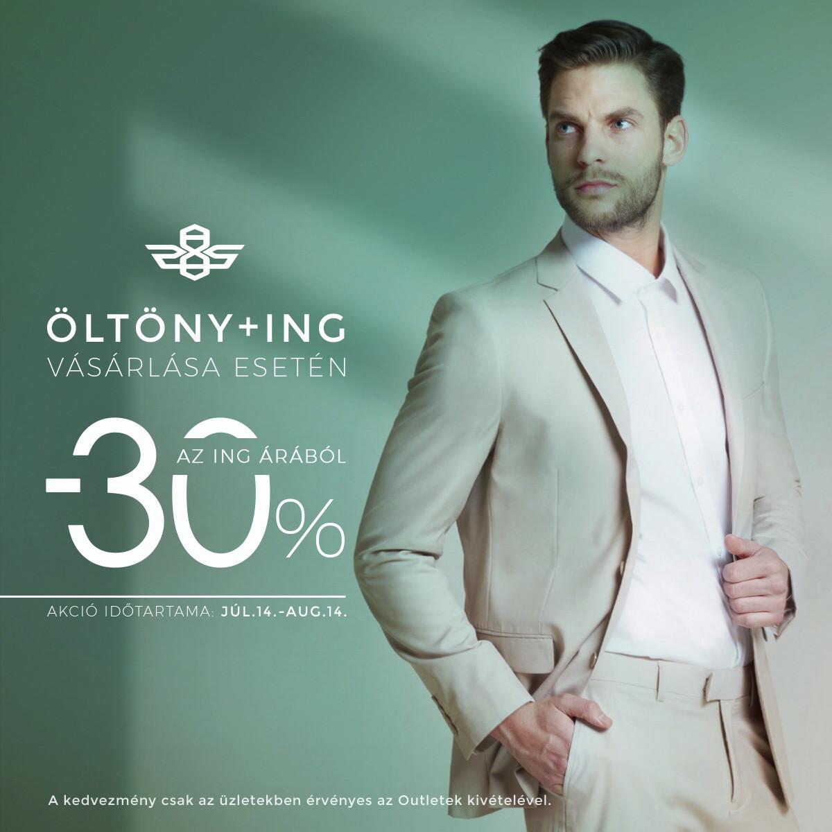 Öltöny+ing vásárlása esetén -30% az ing árából!
