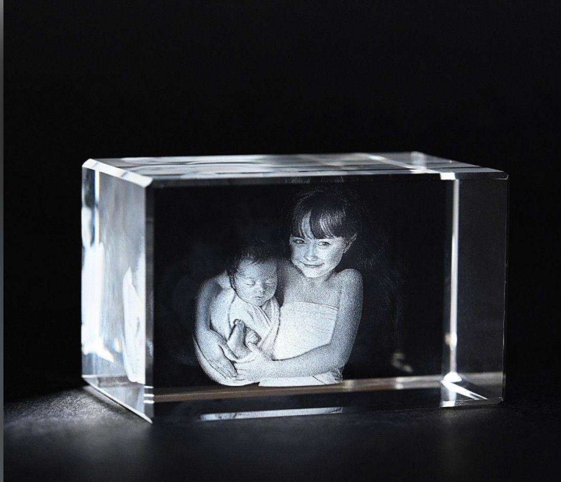 3D kristály hasáb 2 arcképpel