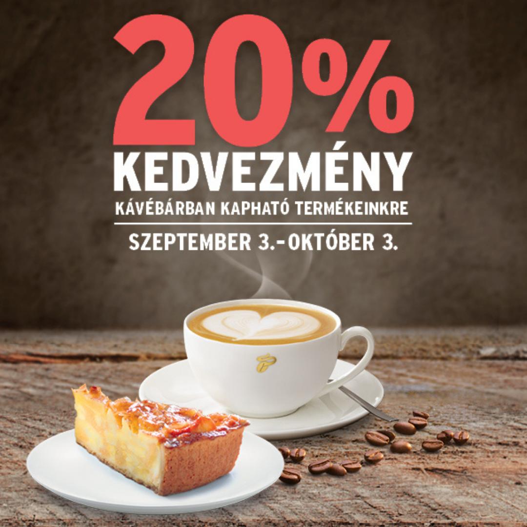 20% kedvezmény  kávébárunkban